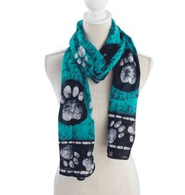 Dog Speak Dog Speak Rayon Batik Scarf, Border Paws - Aqua/Navy