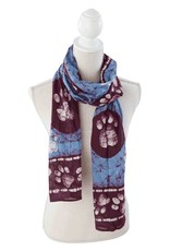 Dog Speak Dog Speak Rayon Batik Scarf, Border Paws - Blue/Burgundy