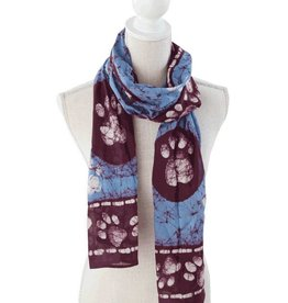 Dog Speak Dog Speak Rayon Batik Scarf, Border Paws - Blue/Burgundy