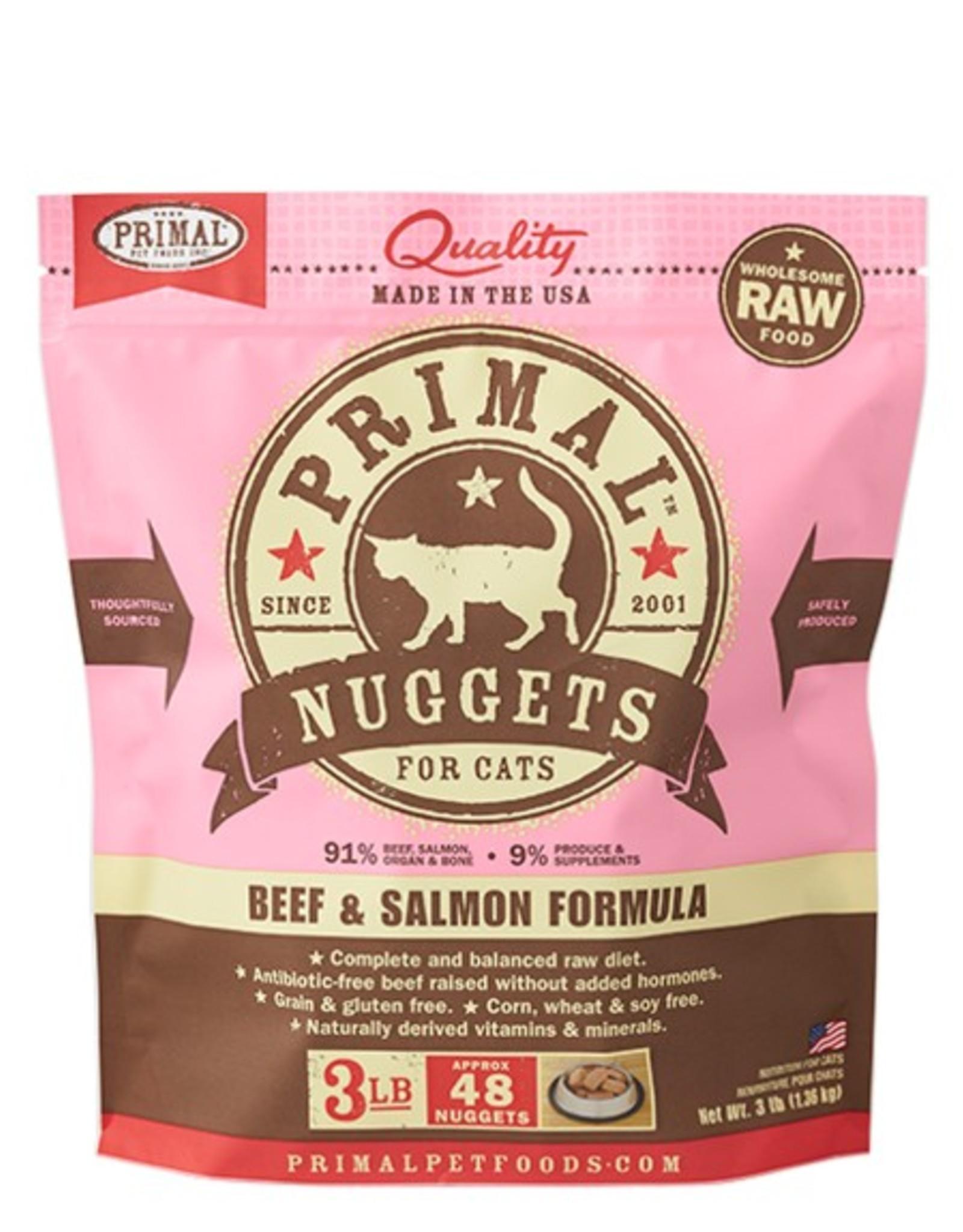 Primal Pet Food Primal Feline Raw Frozen Beef & Salmon Formula 3lb