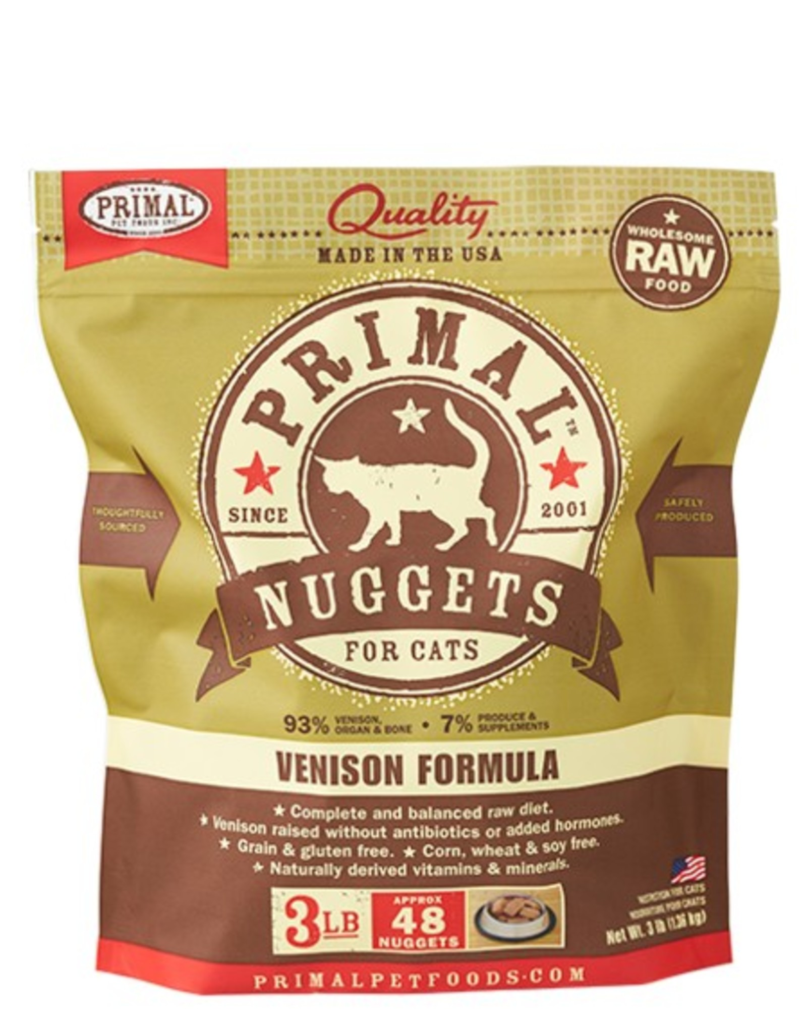 Primal Pet Food Primal Feline Raw Frozen Venison Formula 3lb