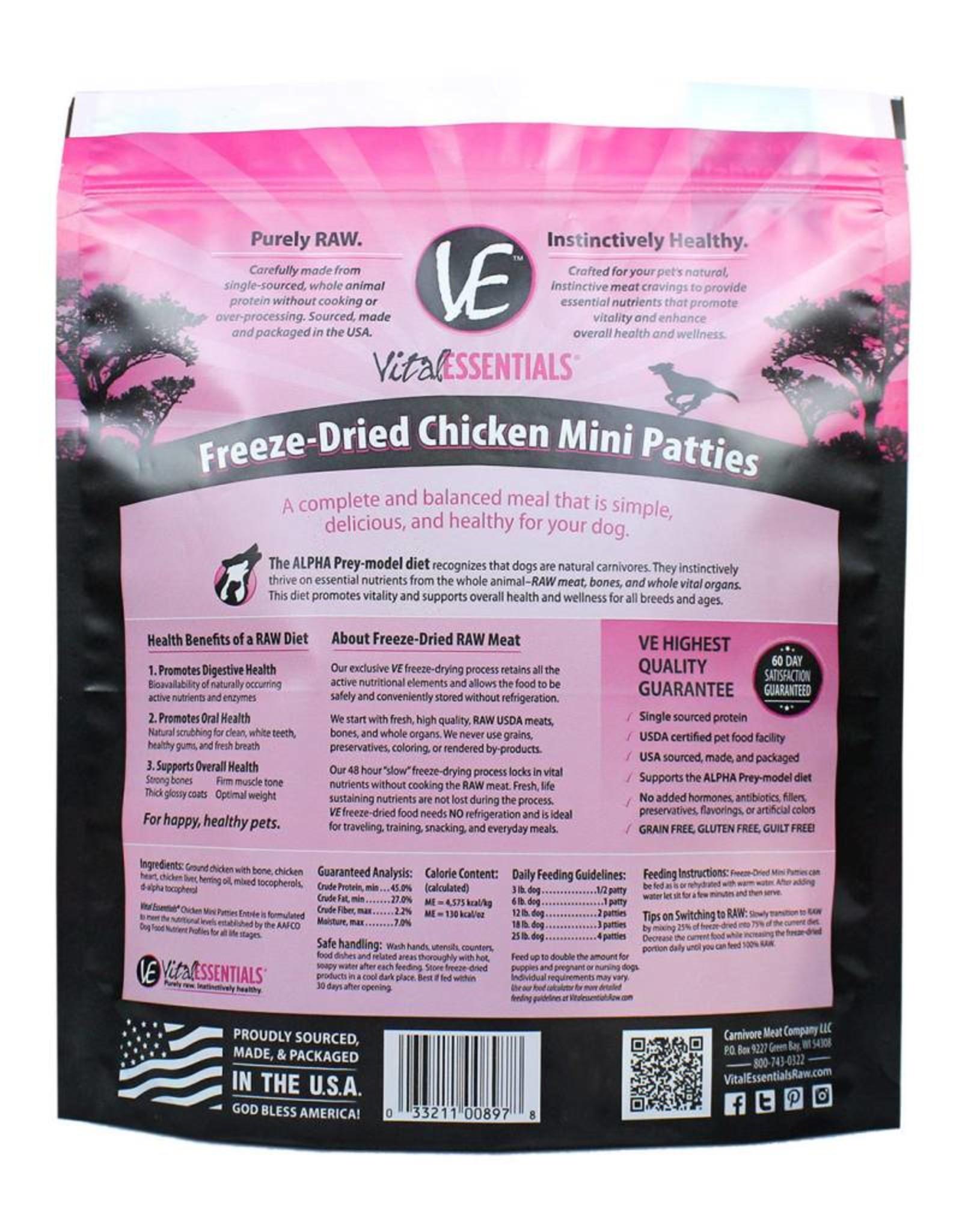 Vital Essentials Vital Essentials Dog Freeze-Dried Chicken Mini Patties 1lb