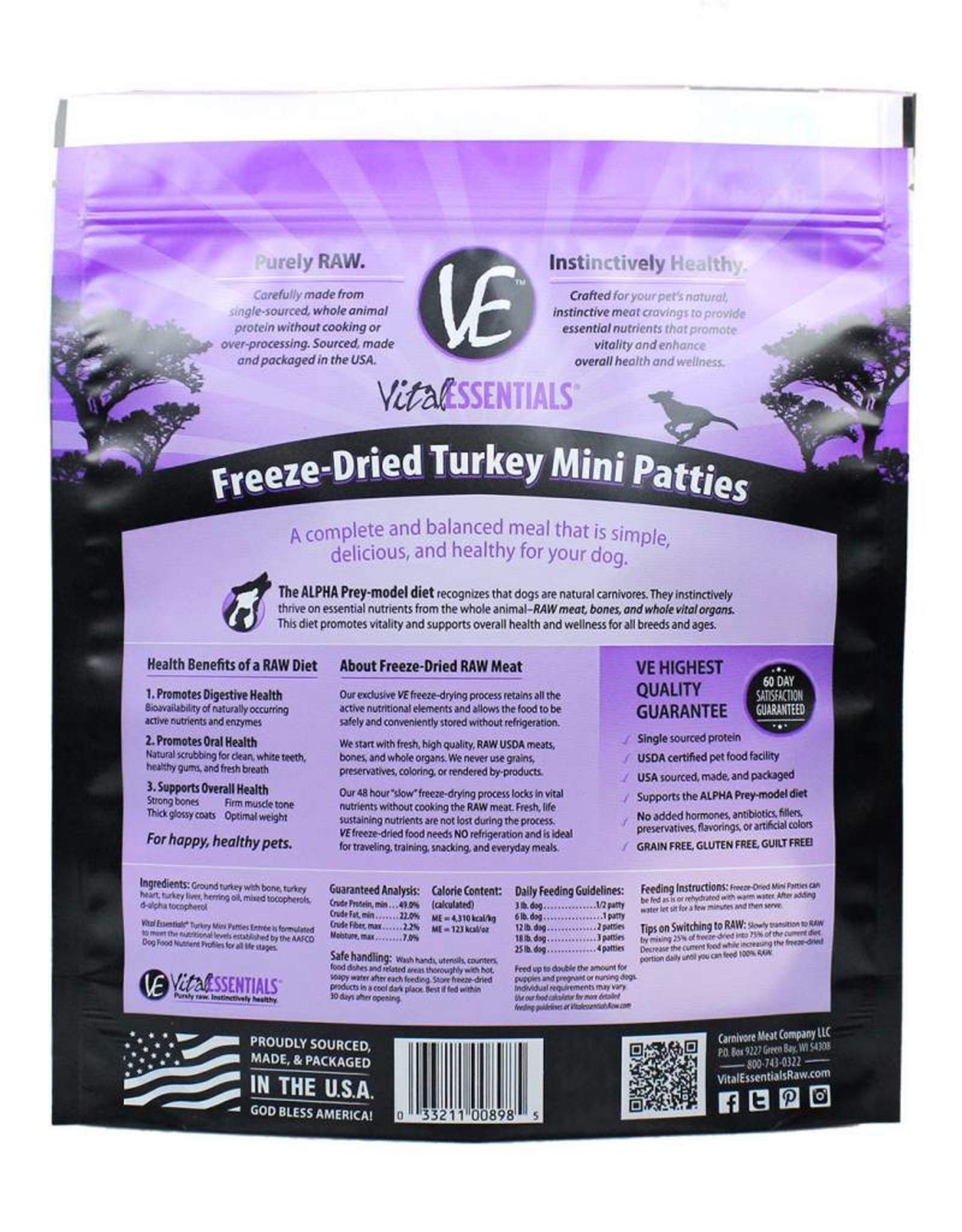 Vital Essentials Vital Essentials Dog Freeze-Dried Turkey Mini Patties 1lb