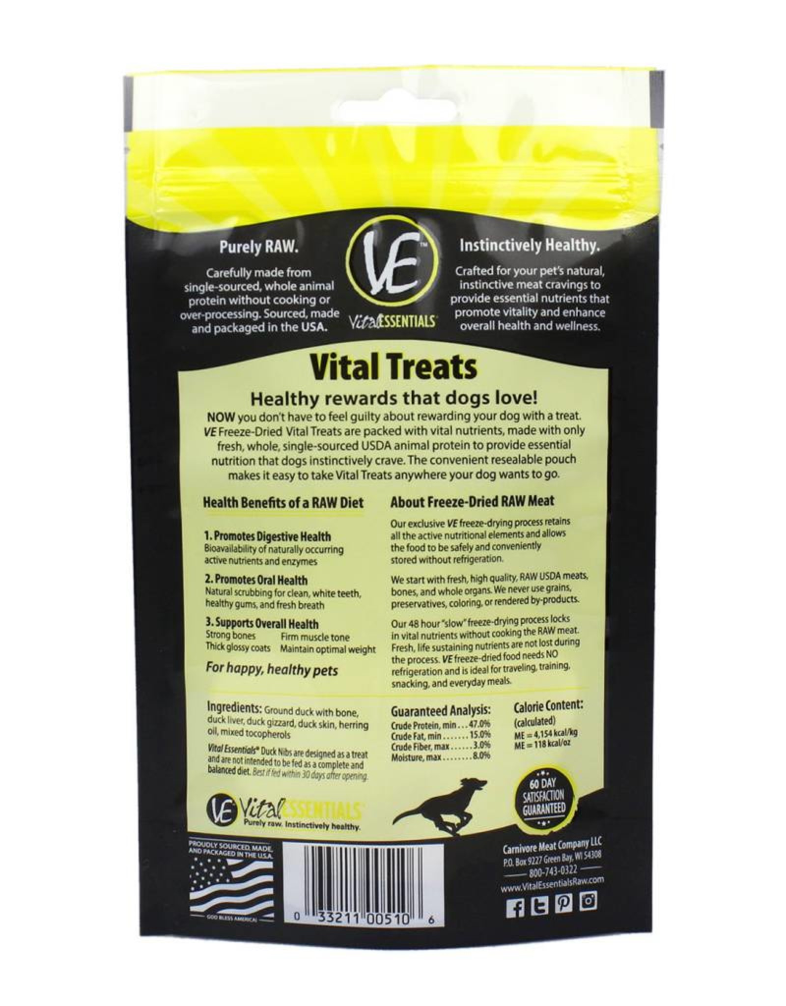 Vital Essentials Vital Essentials Dog Treat Duck Nibs 2oz