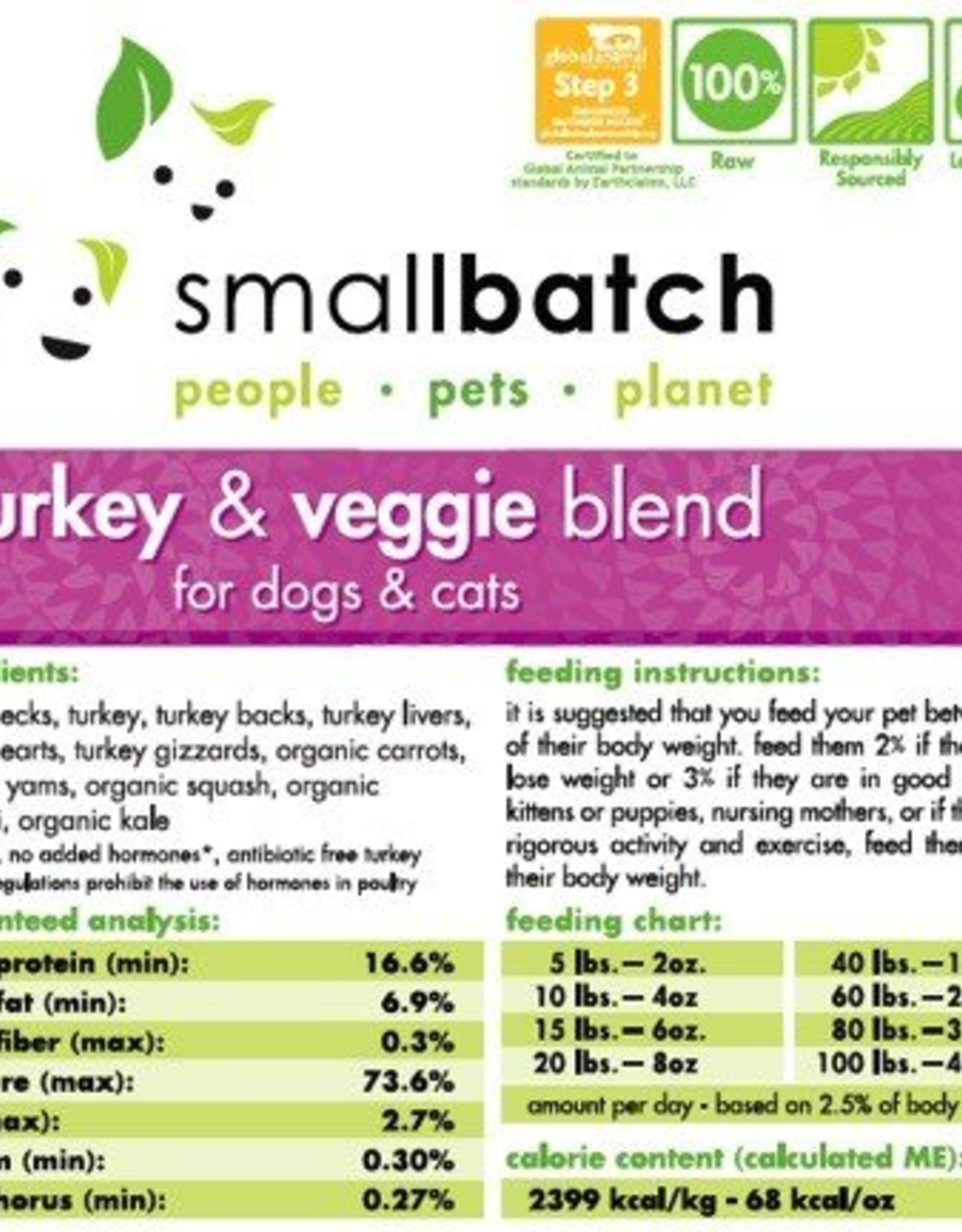 Smallbatch SALE - Smallbatch Turkey Vegetable Blend 2lb