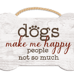 Dog Speak Dog Speak Rope Hanging Sign - Dogs Make Me Happy