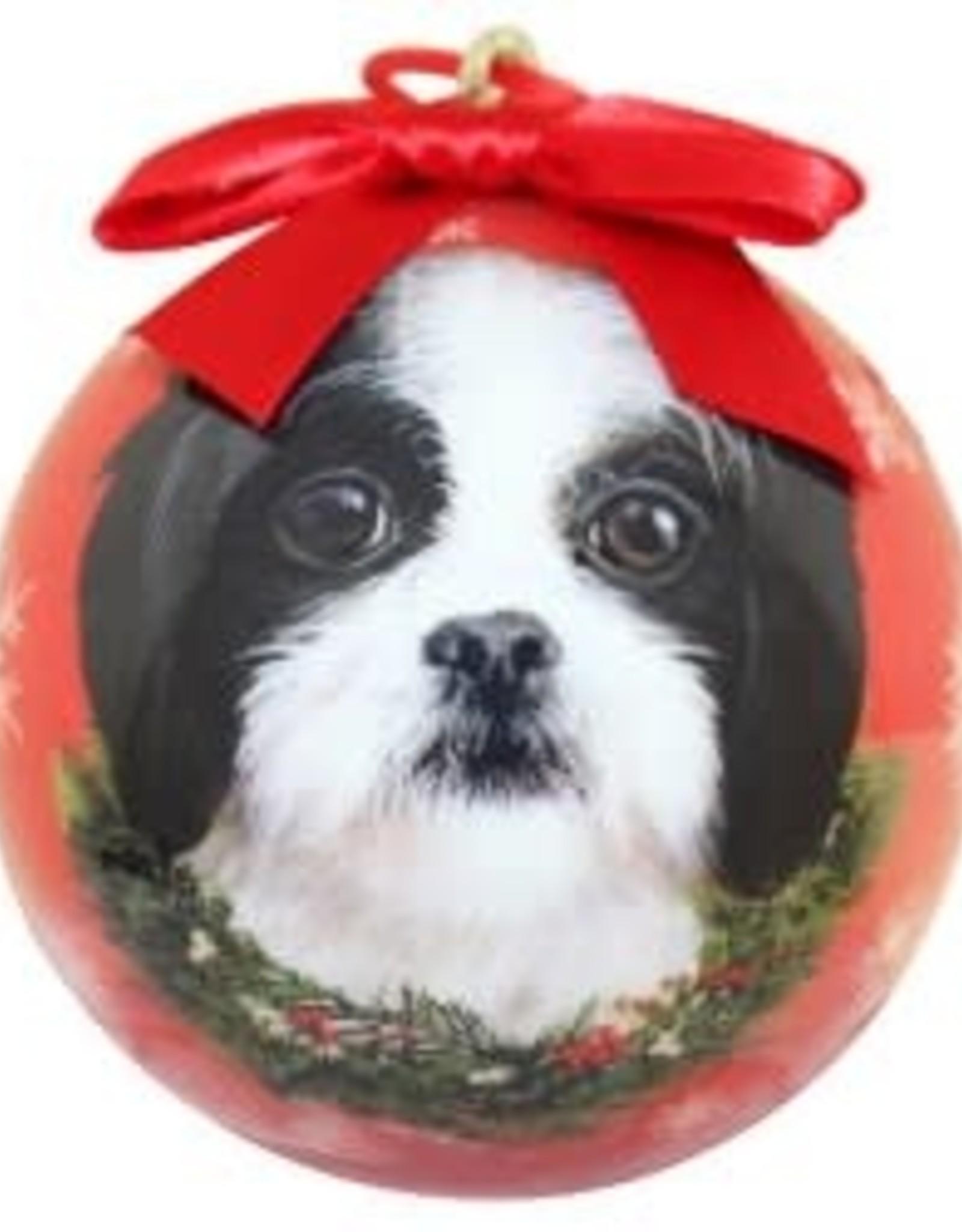 Shih Tzu, Black & White Puppy Ornament