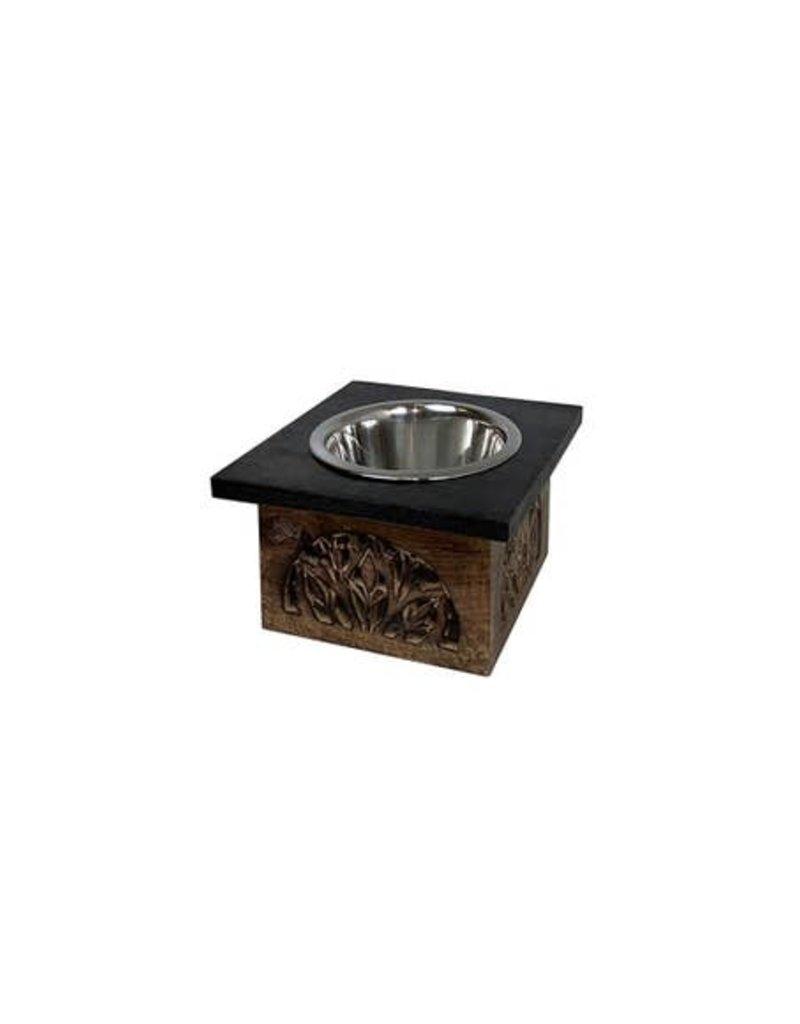 Poodle Single Pet Feeder in Burnt Blackwash