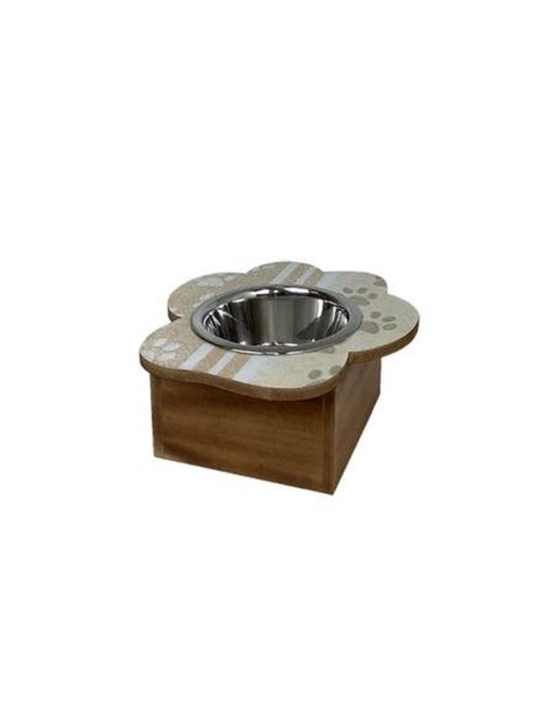Paw Print Single Feeder in Ivory