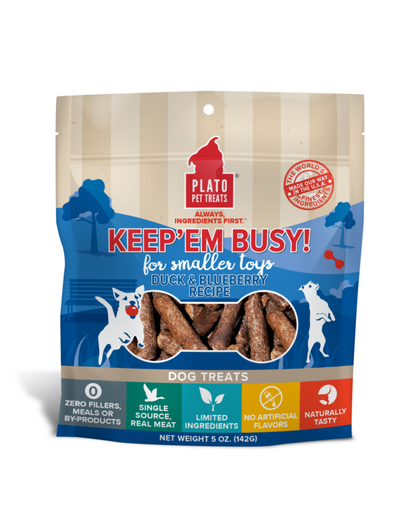 Plato Pet Treats Keep'Em Busy Duck & Blueberry 5oz