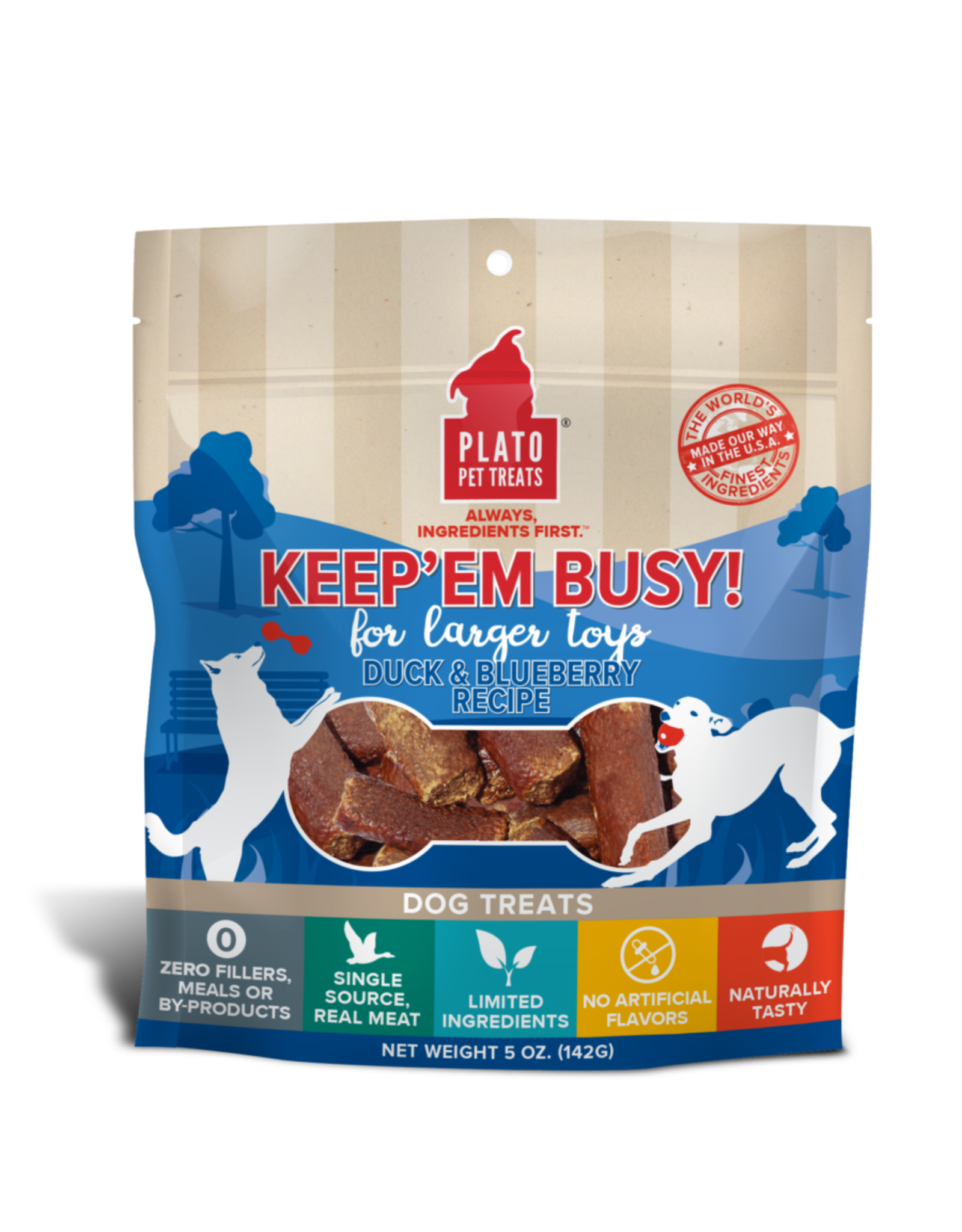 Plato Pet Treats Keep'Em Busy Duck & Blueberry 5oz