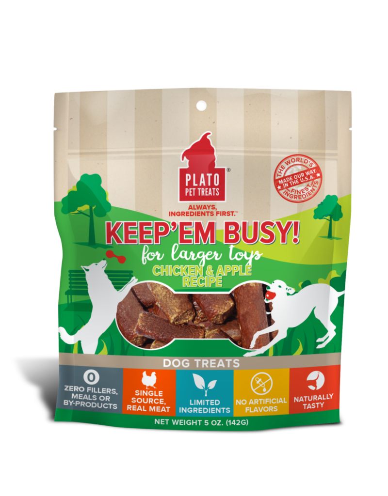 Plato Pet Treats Keep'Em Busy Chicken & Apple 5oz