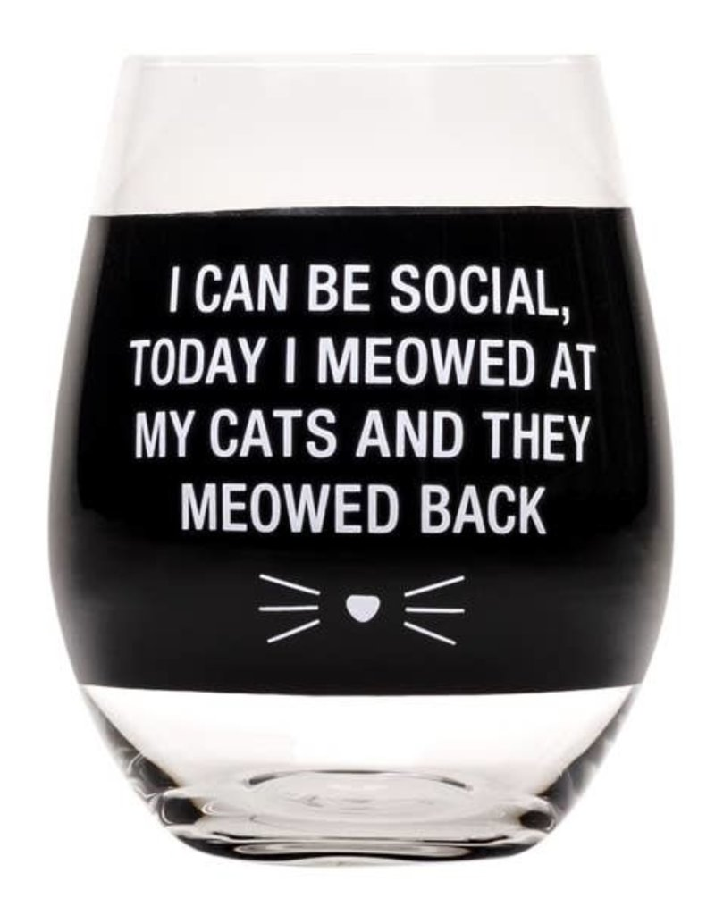 Stemless Wine Glass - Meowed Back