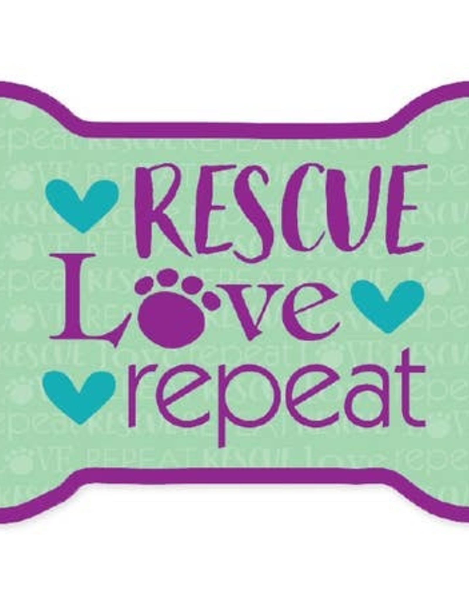 Dog Speak Car Magnet: Rescue Love Repeat