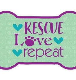 Dog Speak Car Magnet: Rescue Love Repeat