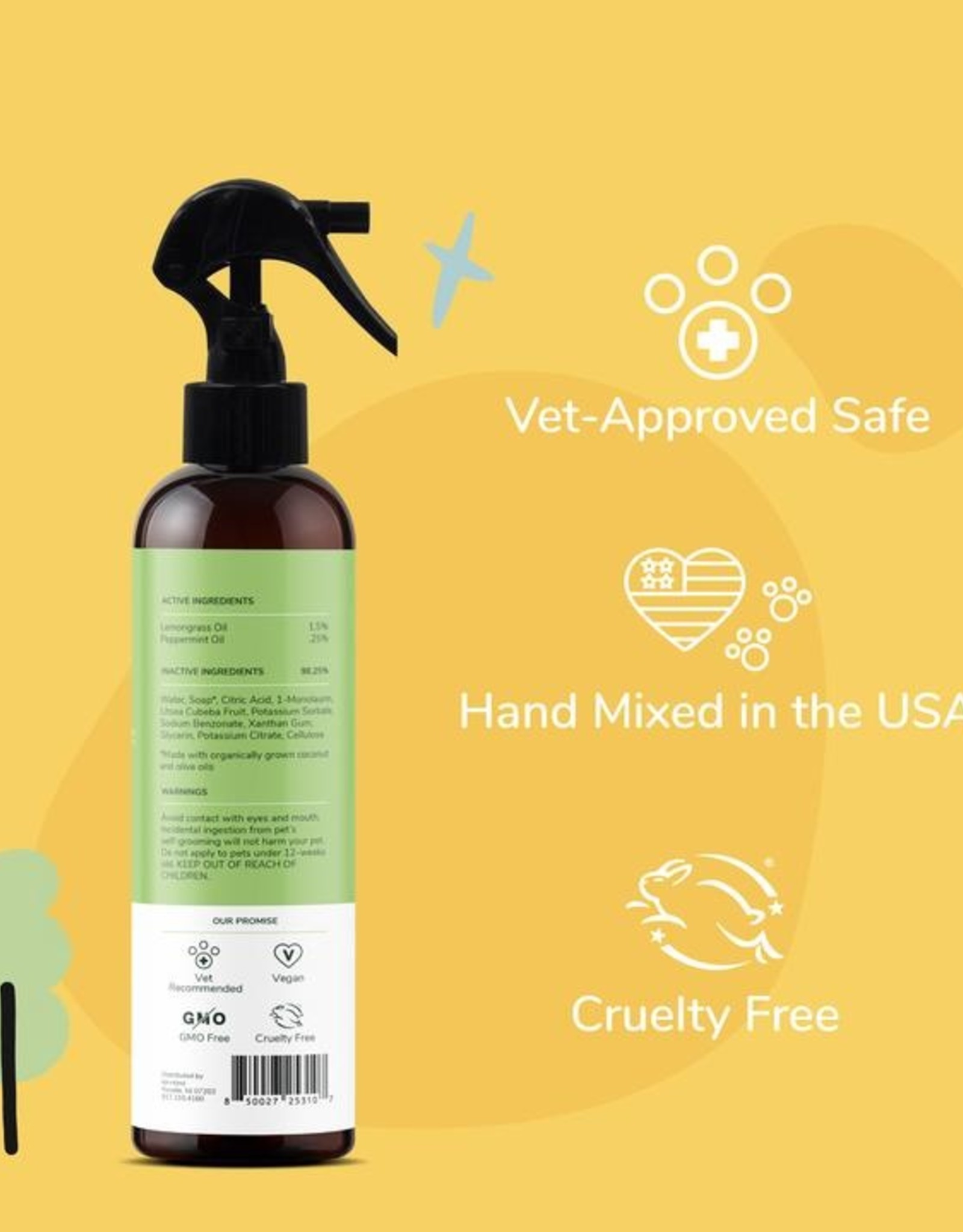 Kin+Kind Kin+Kind Flea & Tick Spray (Dog & Cat) 12oz Lemongrass
