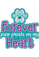 """Dog Speak 3"""" Decal Forever Paw Prints on My Heart"""