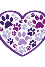 """Dog Speak 3"""" Decal Heart With All Over Paws"""