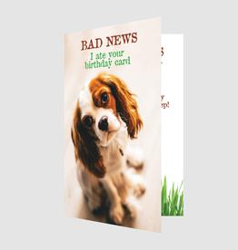 Dog Speak Dog Speak Card - Birthday - Bad News I ate your card