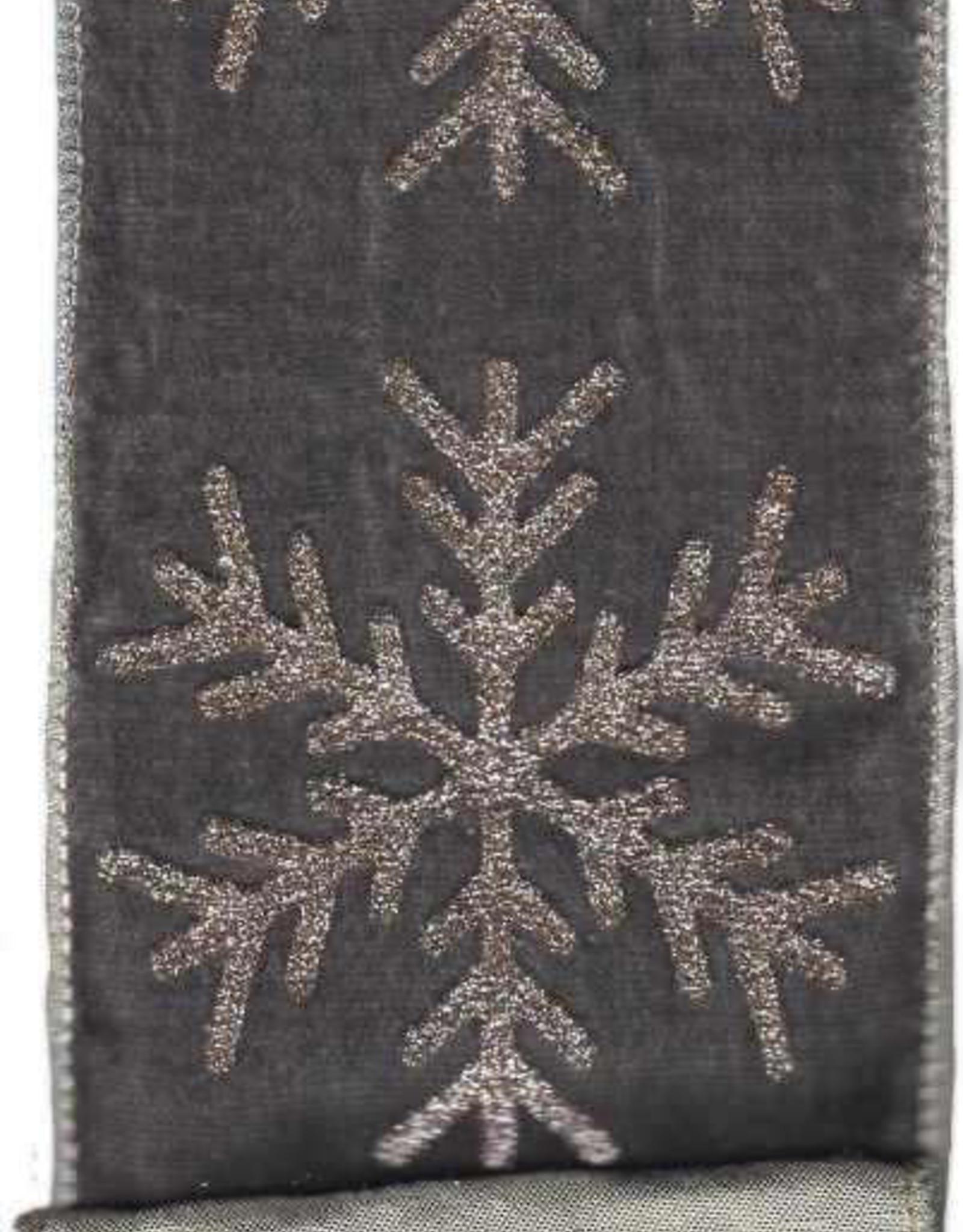Velvet Ribbon w/ Large Glitter Snowflake