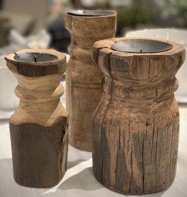 Round Vintage Carved Pillars (Set of 3)