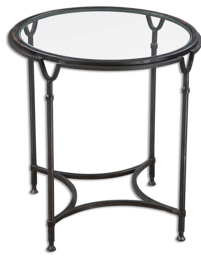 Mirrored Black Round Table