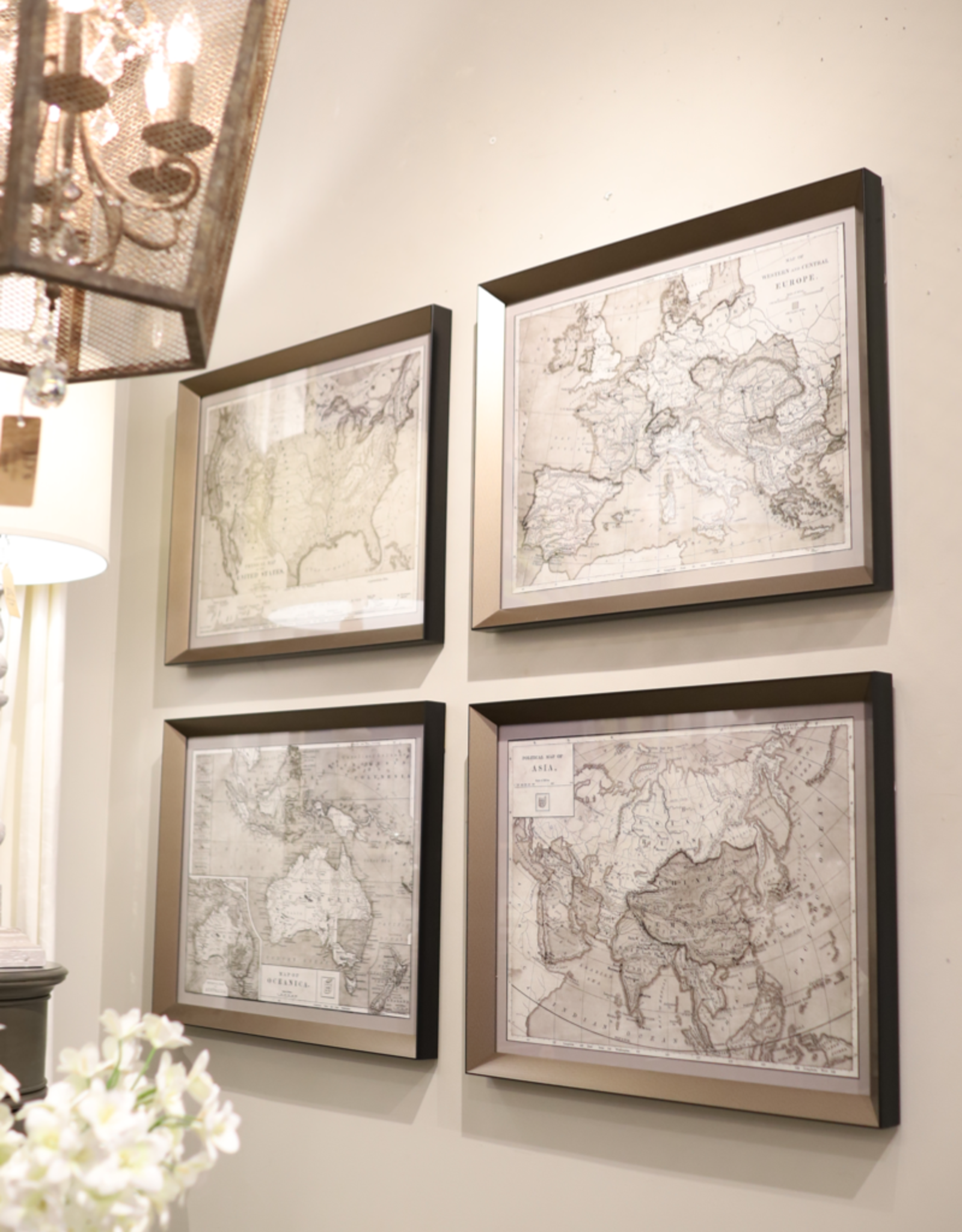 World Maps Framed Prints - Set of 4