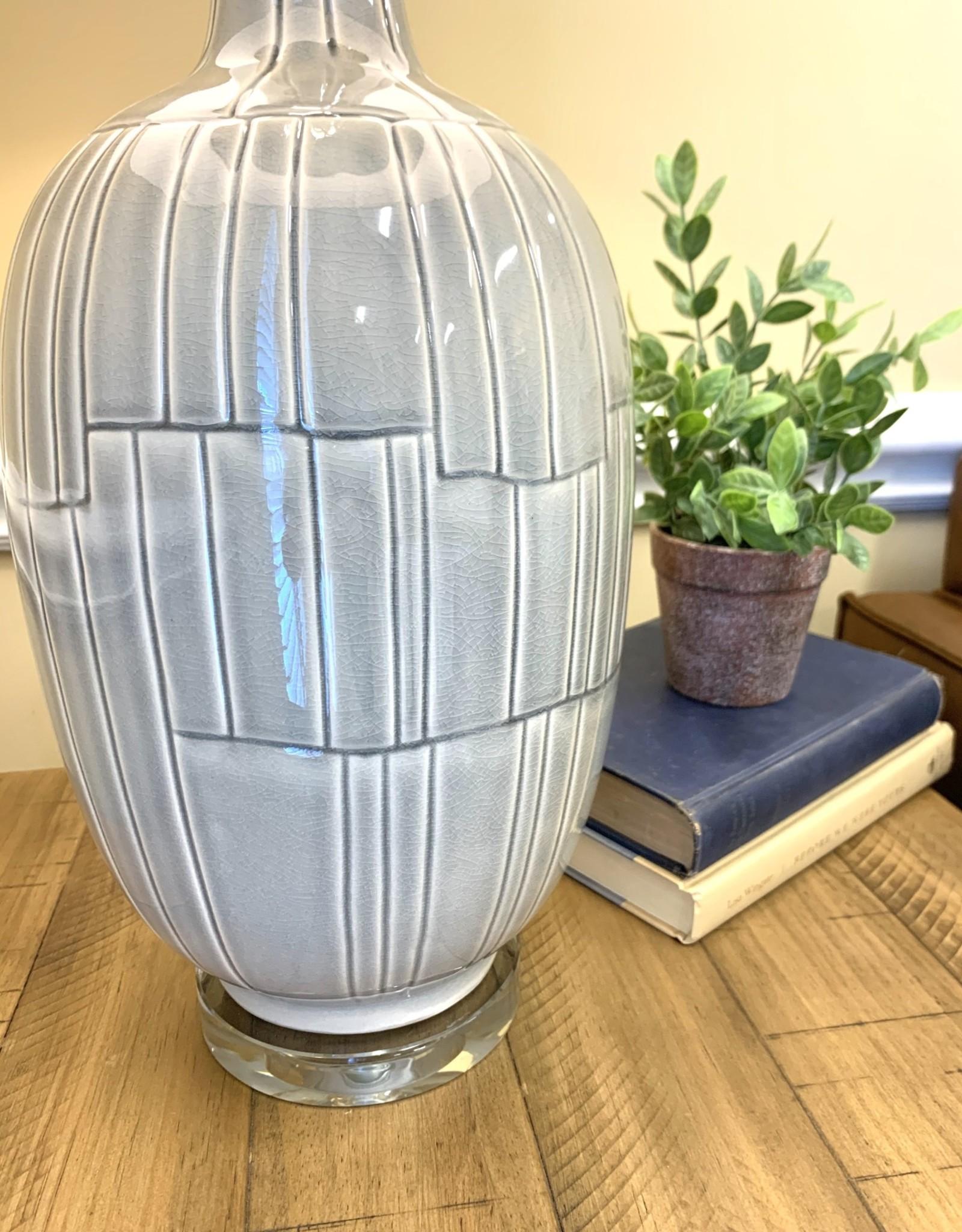 LeAnna Gray Crackle Table Lamp