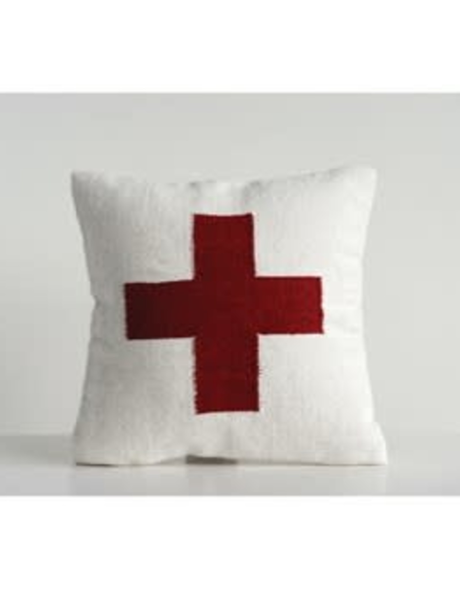 Cream Wool Blend Pillow with Red Cross