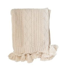 Chunky Cable Knit Cream Throw with Tassels