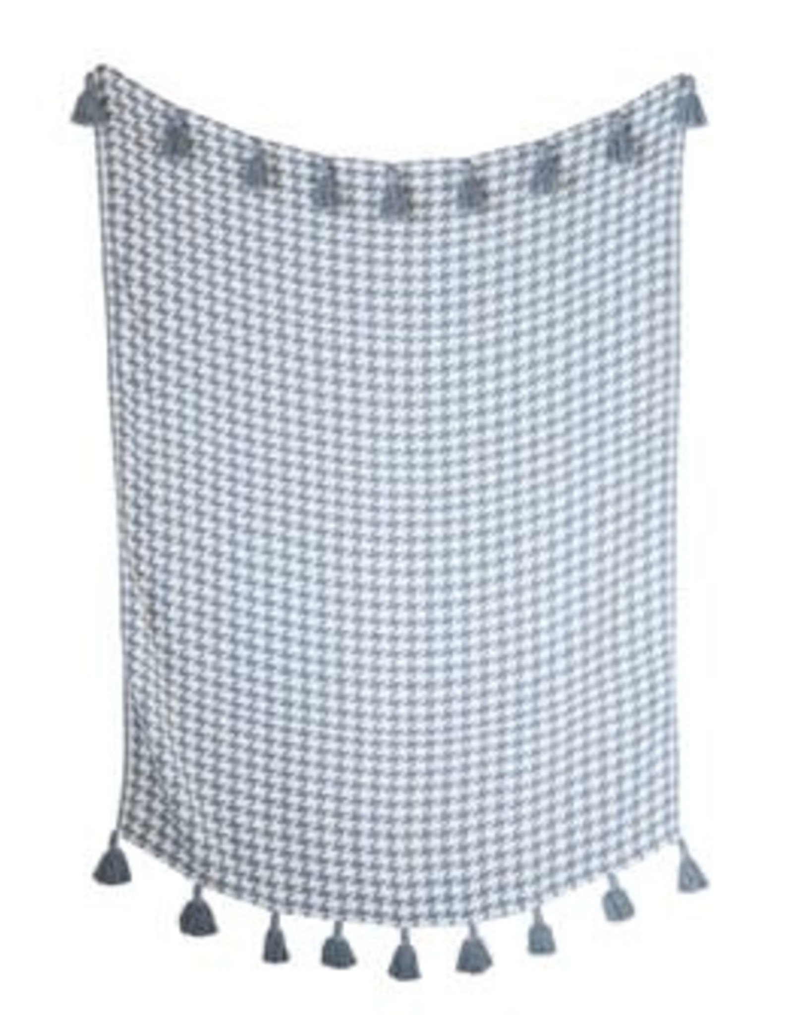 Grey Houndstooth Throw with Tassels