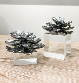 Indian Lotus Metallic Silver Flowers - Set of 2