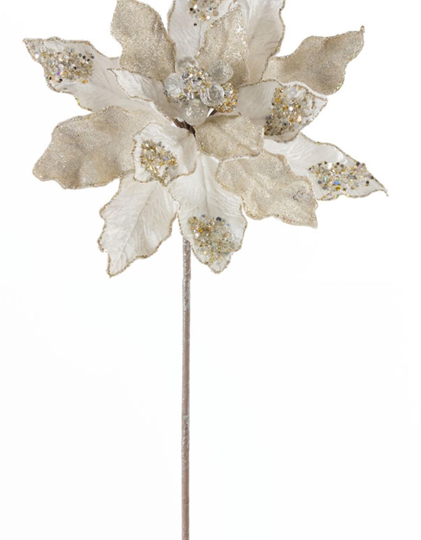 """Poinsettia Stem 29"""" Velvet/Paper (Set of 6)"""