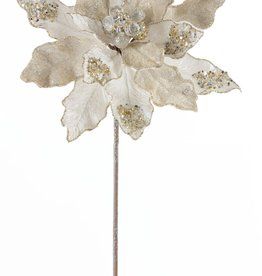 "Poinsettia Stem 29"" Velvet/Paper (Set of 6)"