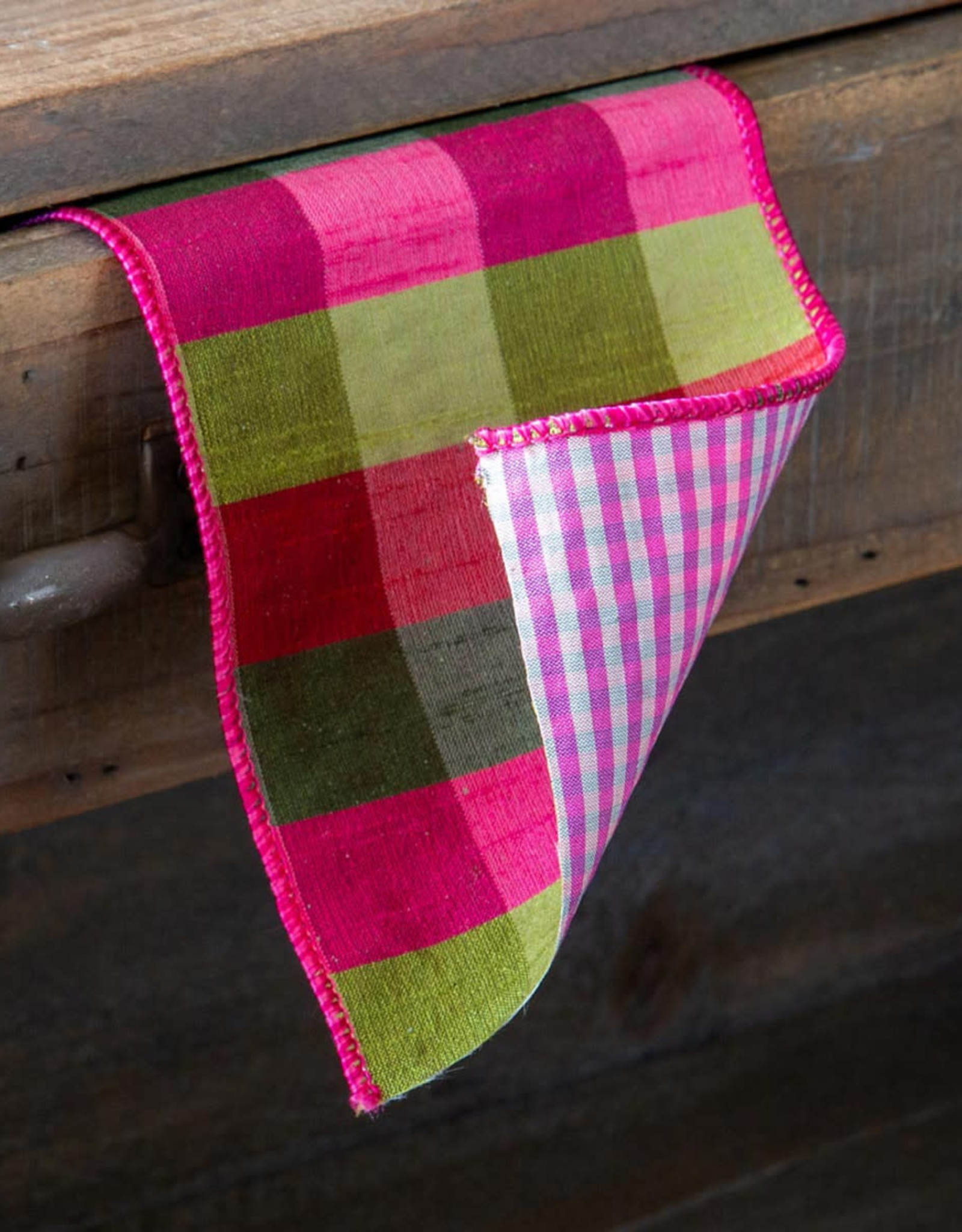 Vintage Check Ribbon, Pink/Green