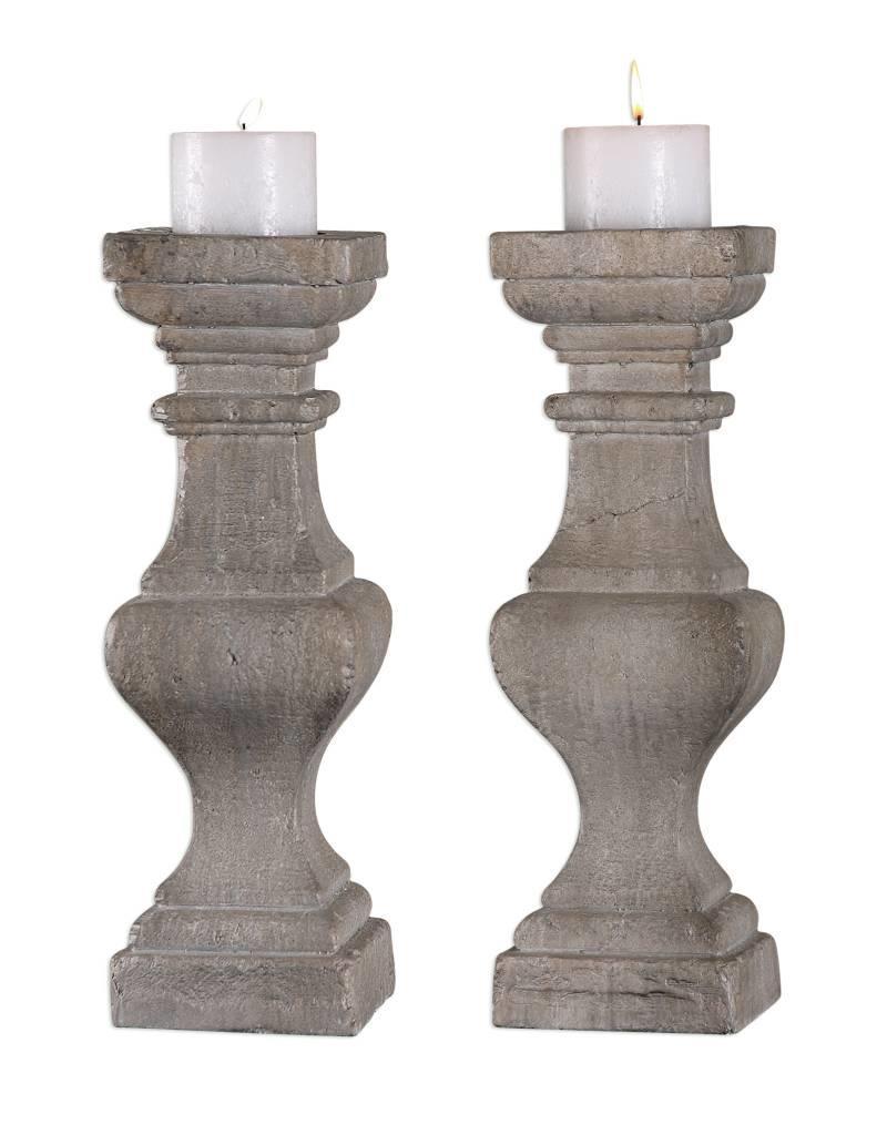 Cement Candlesticks S/2