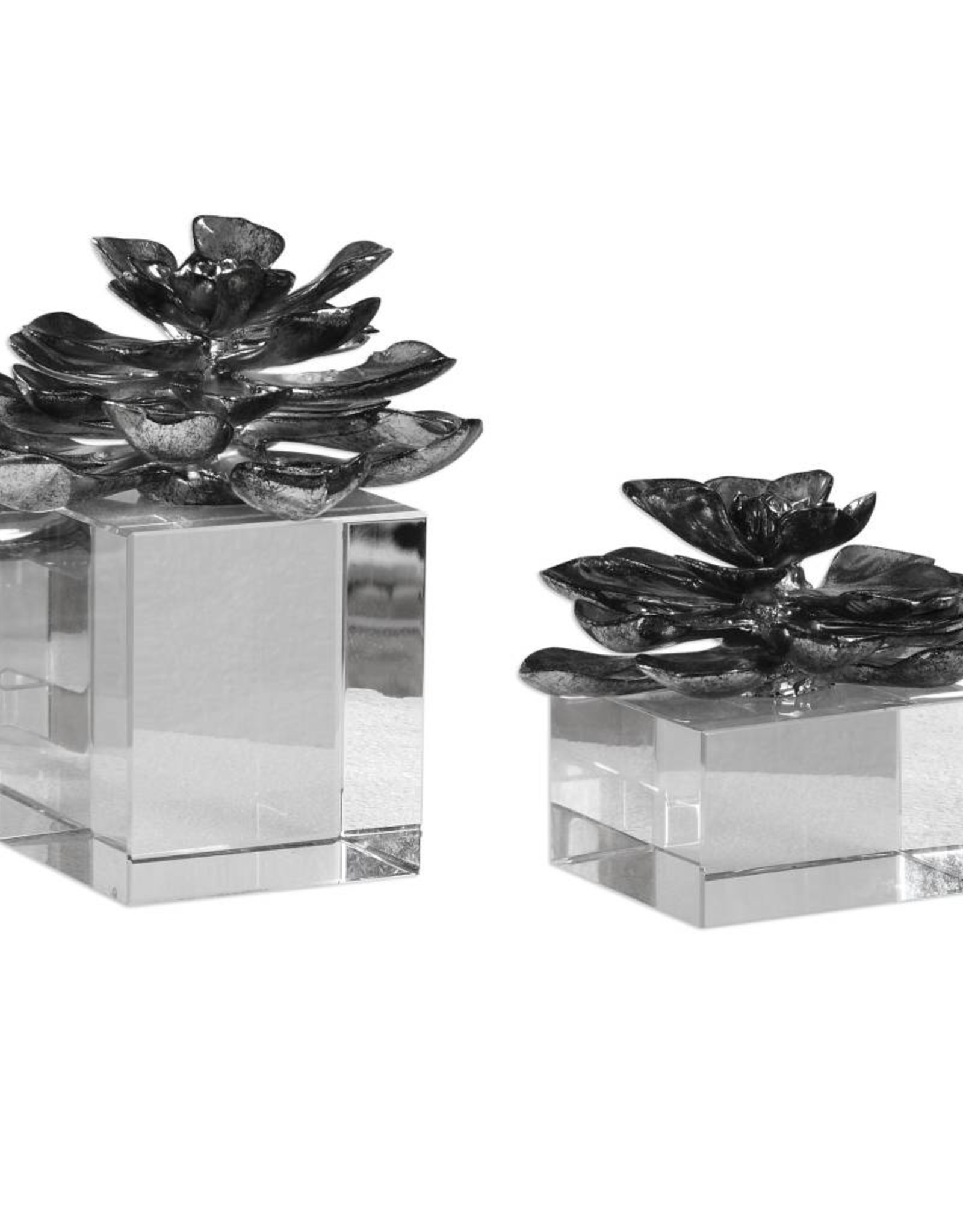 Indian Lotus Metallic Silver Flowers - Set of 2