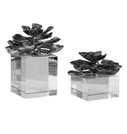 Indian Lotus Metallic Silver Flowers S/2