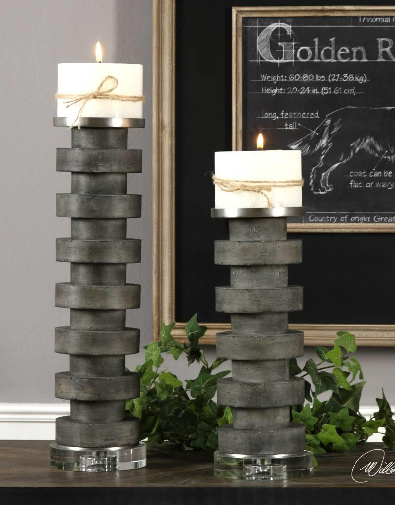 Karun Concrete Candle Holders S/2