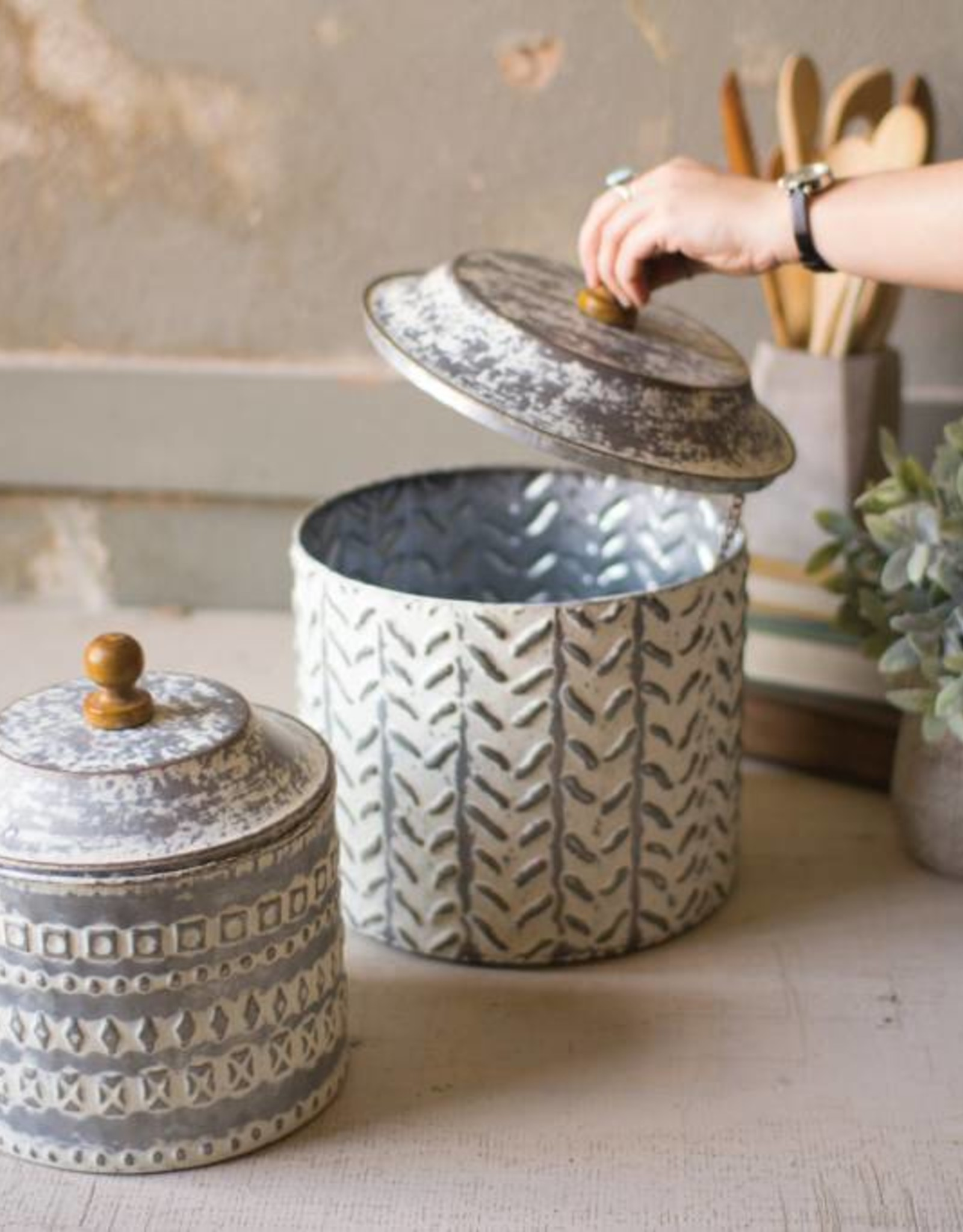 Pressed Tin Canisters (Set of 2)