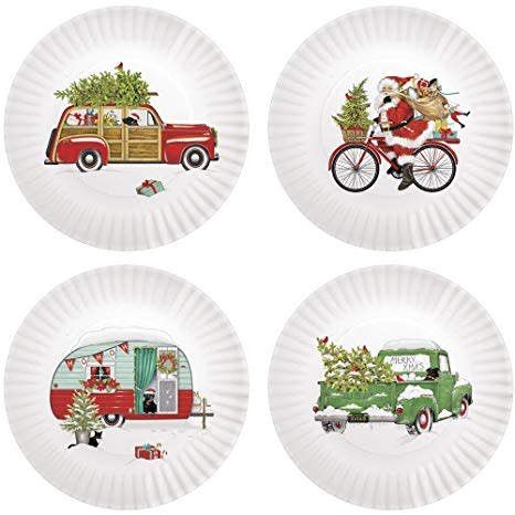 "Onehundred80degrees Winter Vehicle ""Paper"" Plate 9""/Set of 4"