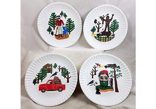 "Onehundred80degrees Northwoods ""Paper"" Plate 9""/Set of 4"
