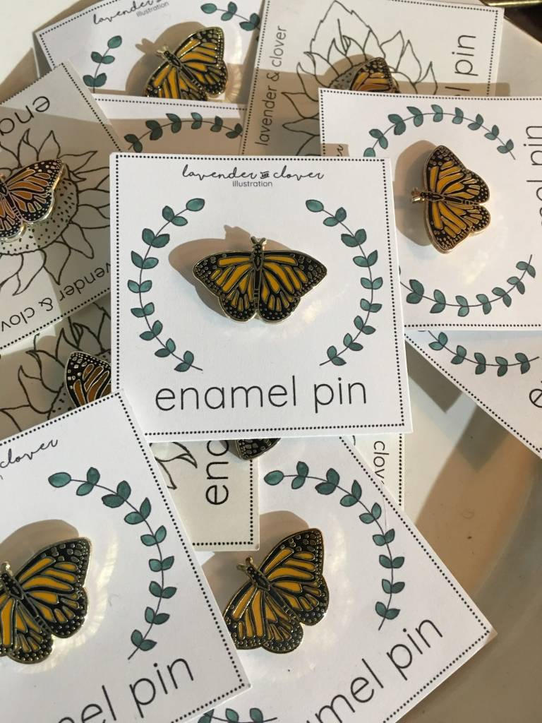 Lavender & Clover Enamel Monarch Pin