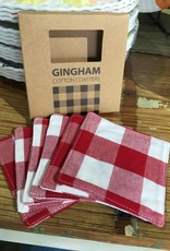 The Workroom Red Gingham Coasters Boxed Set