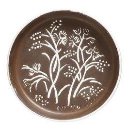 Creativeco-op Round Embossed Terra-cotta Plate, Brown