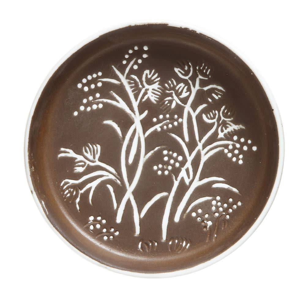 "Creativeco-op 5-1/2"" Round Embossed Terra-cotta Plate, Brown"