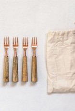 """Creativeco-op 5-1/2""""L Stainless Steel Appetizer Forks w/ Wood Handle, Set of 4 in Drawstring Bag"""