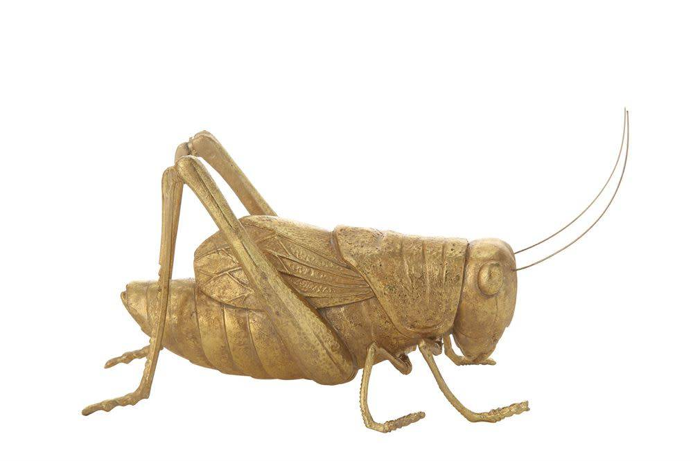 """Creativeco-op 10-1/2""""L x 4-1/4""""H Resin Cricket, Gold Finish"""