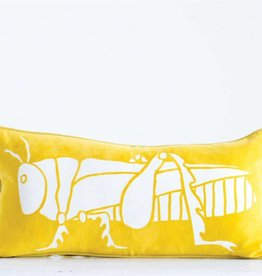Creativeco-op Cotton Velvet Pillow w/ Grasshopper, Yellow