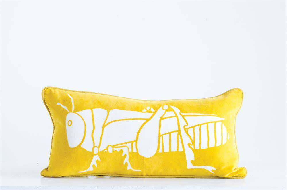 "Creativeco-op 24"" x 12"" Cotton Velvet Pillow w/ Grasshopper, Yellow"
